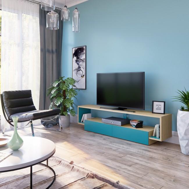 Стильная тумба под телевизор в цвет стены