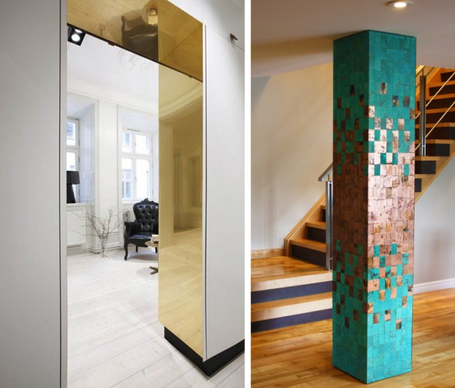 Нефункциональный декор из зеркальных поверхностей цвета розового золота и меди