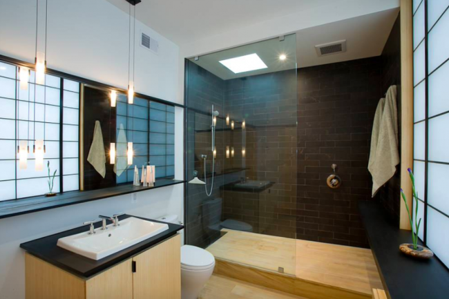 Ванная комната в пастельных тонах смотрится очень красиво