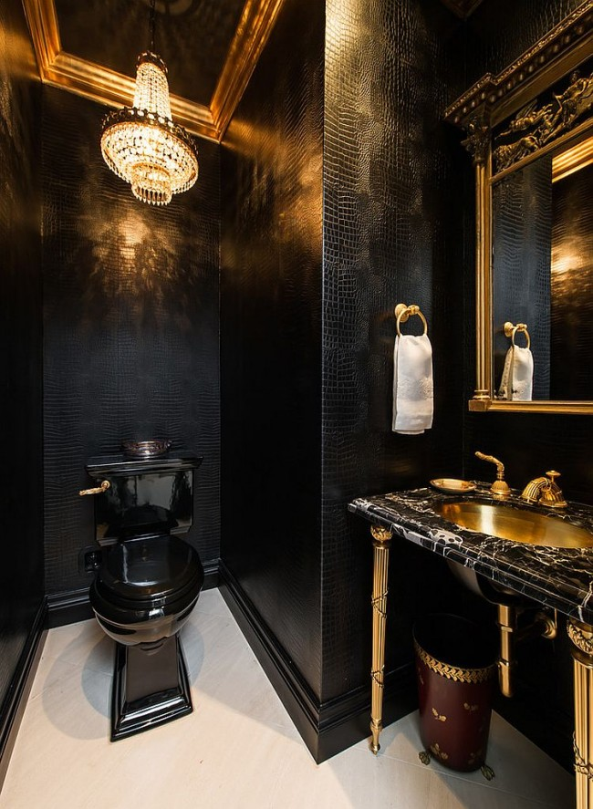 Прекрасное сочетание черного цвета и золота в интерьере