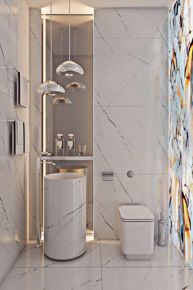 Эффектный дизайн гигиенической комнаты с подсвеченным слэбом оникса