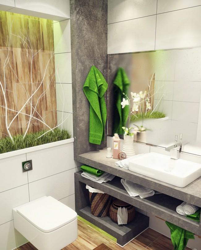 Прекрасный дизайн-проект интерьера туалета в стиле эко. Полка над подвесным унитазом здесь используется только для декоративных целей