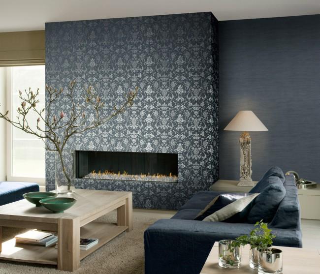 Одинаковый цвет фона, сочетающийся с цветом мебели, плюс узор для акцента