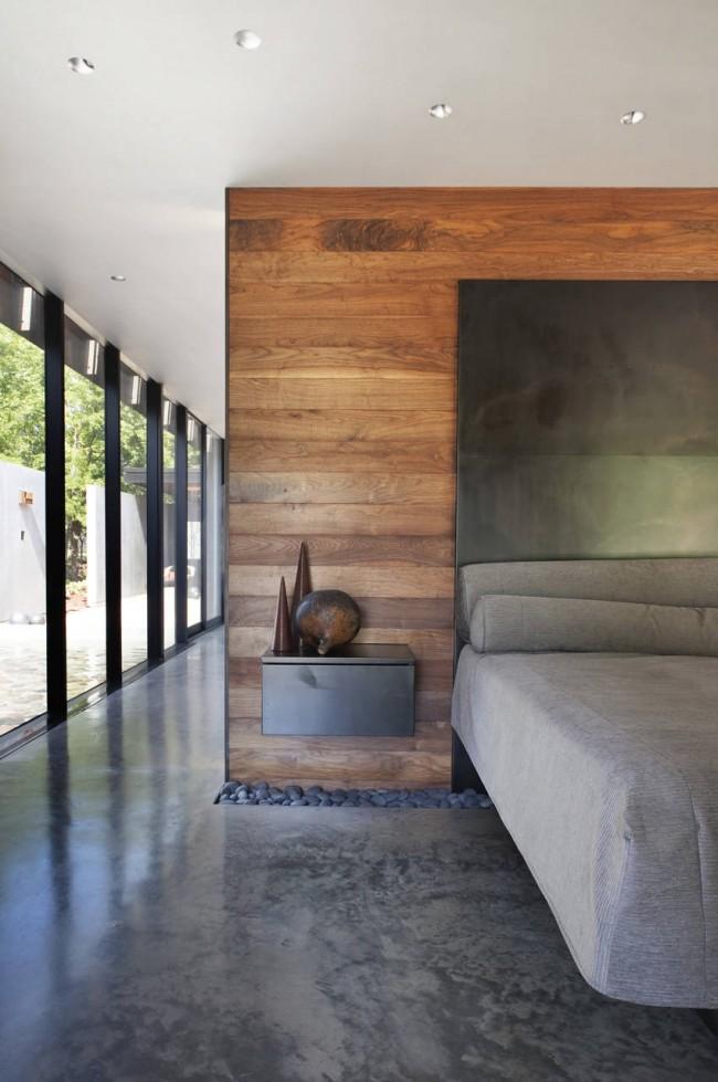 Перегородка спальни, облицованная ламинатной доской
