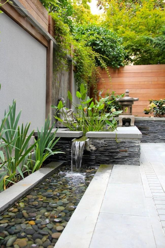Ландшафтный дизайн с декоративным водопадом