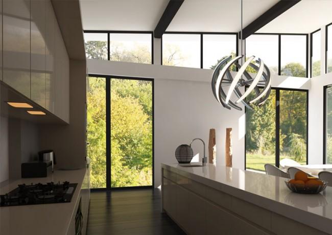 Если вы являетесь владельцем кухни в современном стиле, то вам будет интересна идея люстры в стиле модерн. Вариантов здесь много: они бывают лаконичные и функциональные или эффектные дизайнерские