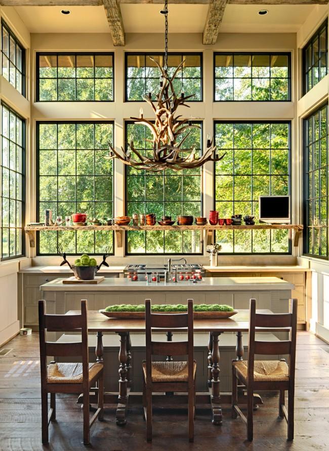 Шикарная кухня в стиле рустик с высоким потолком