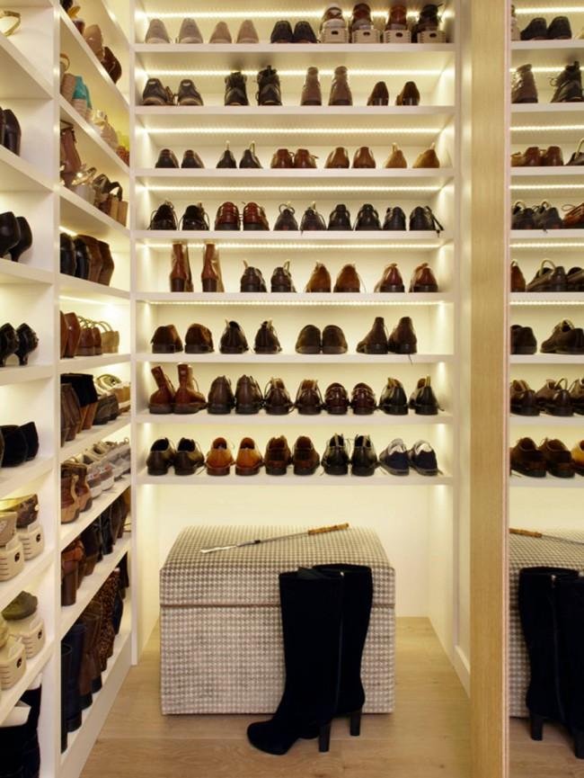 Полки для обуви с подсветкой светодиодными лентами