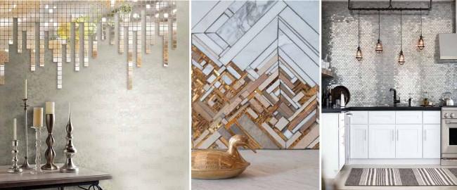 Осколки и правильные кусочки зеркал, медь, мрамор: сочетая эти материалы, можно получить дорогой на вид и очень стильный декор