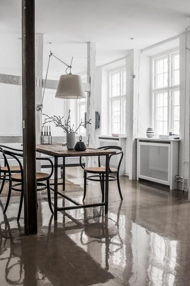Напольное покрытие в тон с кухонной мебелью