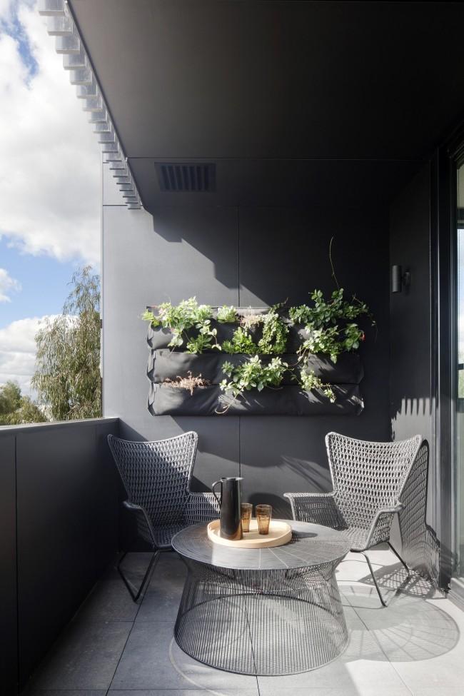 Вертикальный сад на антрацитовом фоне стеновых панелей