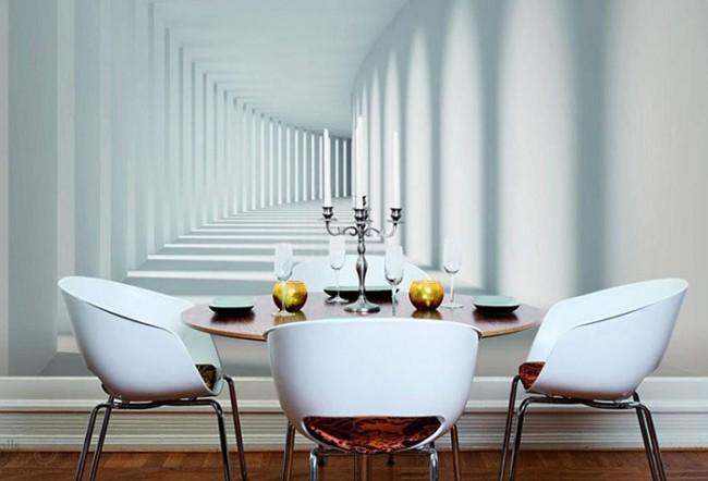 Увеличение пространства кухни при помощи фотообоев с 3D эффектом