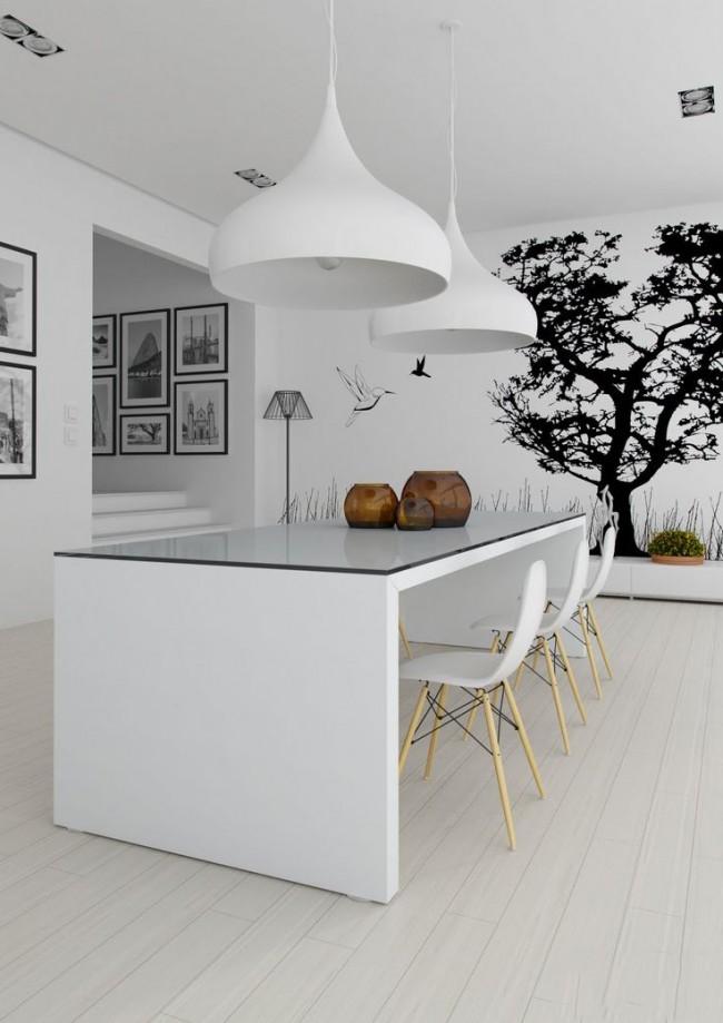 Графичный рисунок на фотообоях в белой кухне