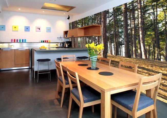 Обои с изображением соснового бора идеально впишутся в кухню из дерева
