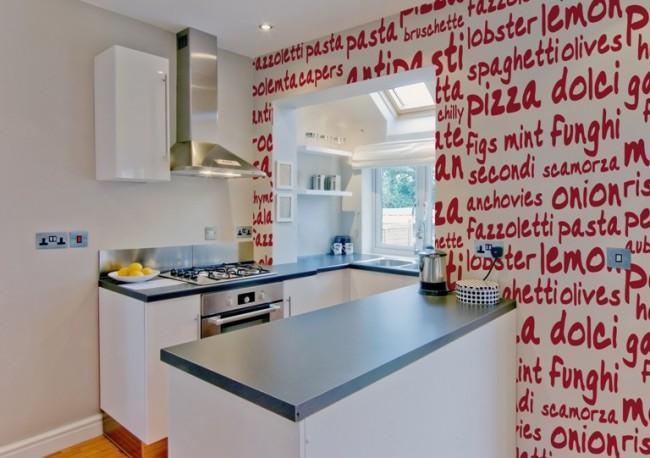 Уникальный дизайн кухни с помощью фотообоев