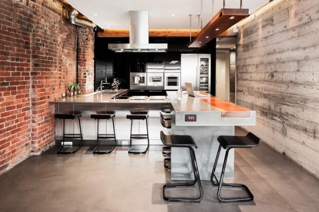 Гипсокартонный потолок в интерьере кухни стиля лофт