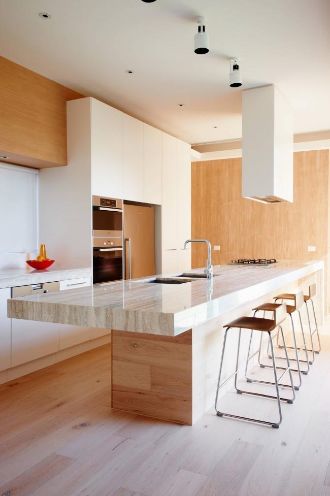 Стильная нейтральная кухня с одноуровневым потолком из гипсокартона: ничего лишнего