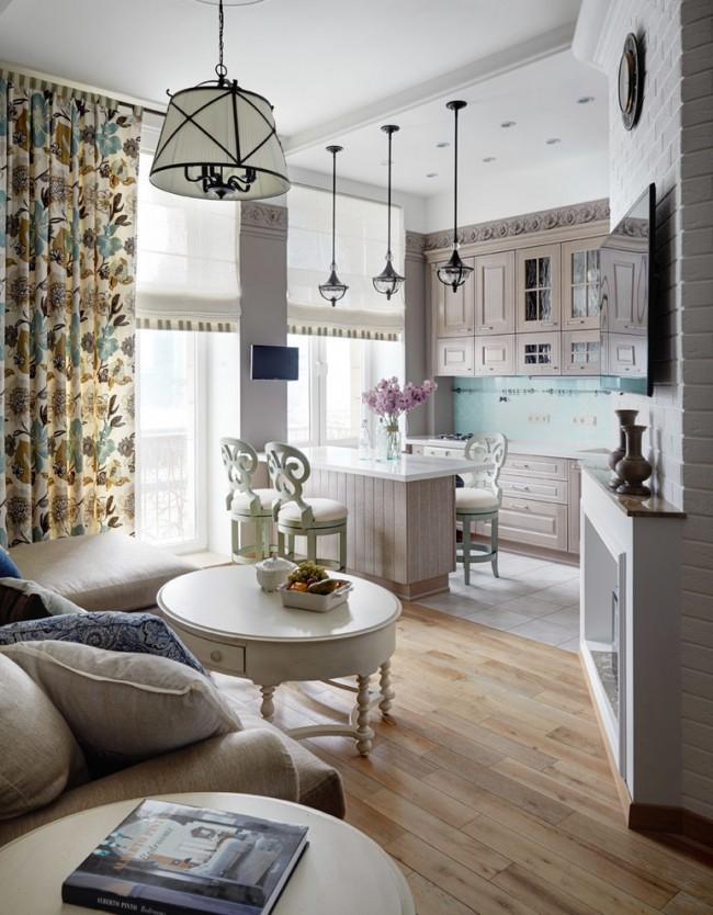 Гипсокартоновый потолок в дизайне уютной кухни