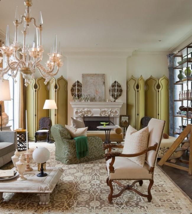 Декор комнаты при помощи оливковой ширмы