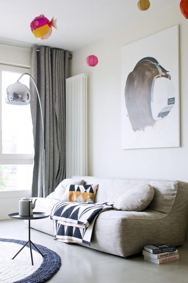 Необычные шторы на люверсах - из шерсти и других грубых тканей, идеально подходят для интерьера в стиле минимализм