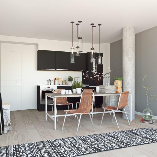 Кухня студии в скандинавском стиле