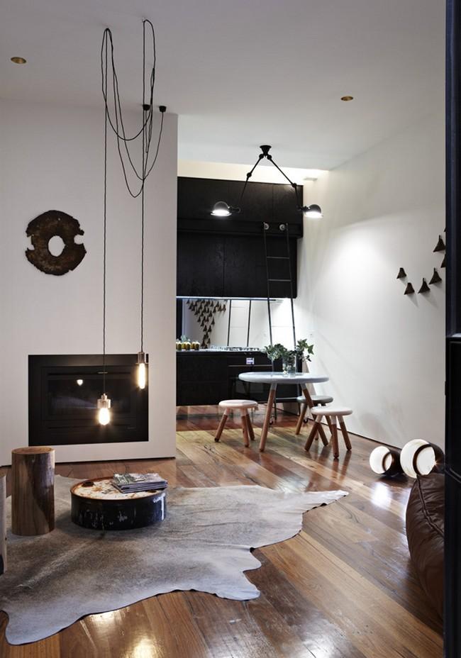 Скандинавский стиль в интерьере черно-белой кухни-студии