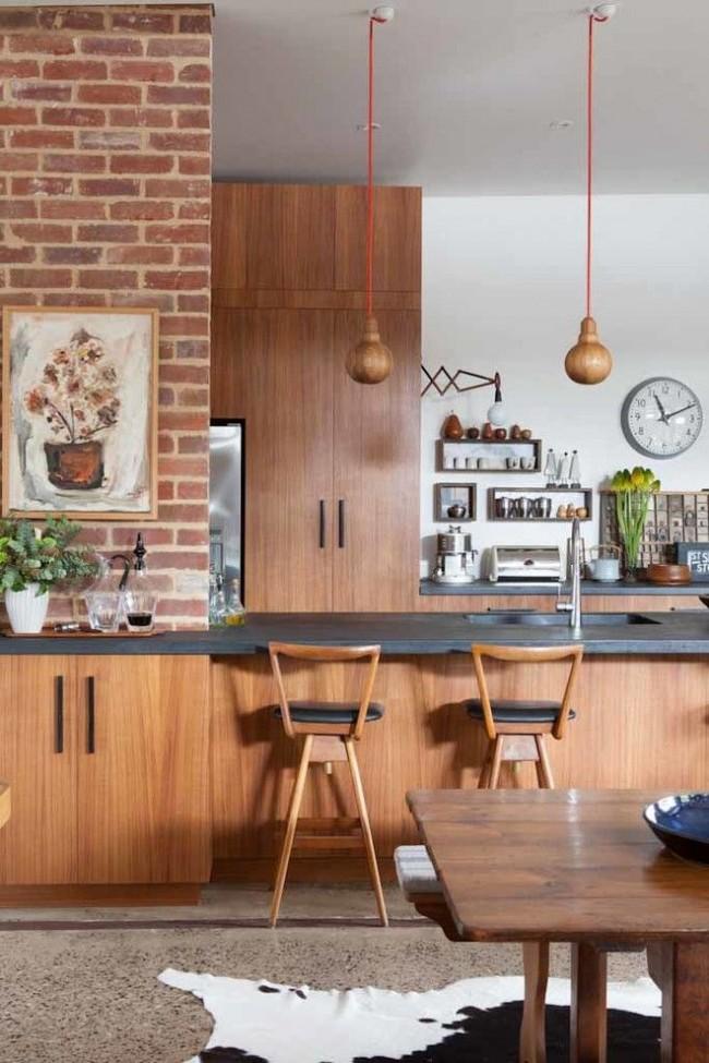 Деревянная кухня в стиле лофт