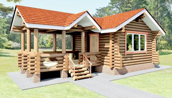 Проект небольшого дома с примыкающей к нему открытой верандой