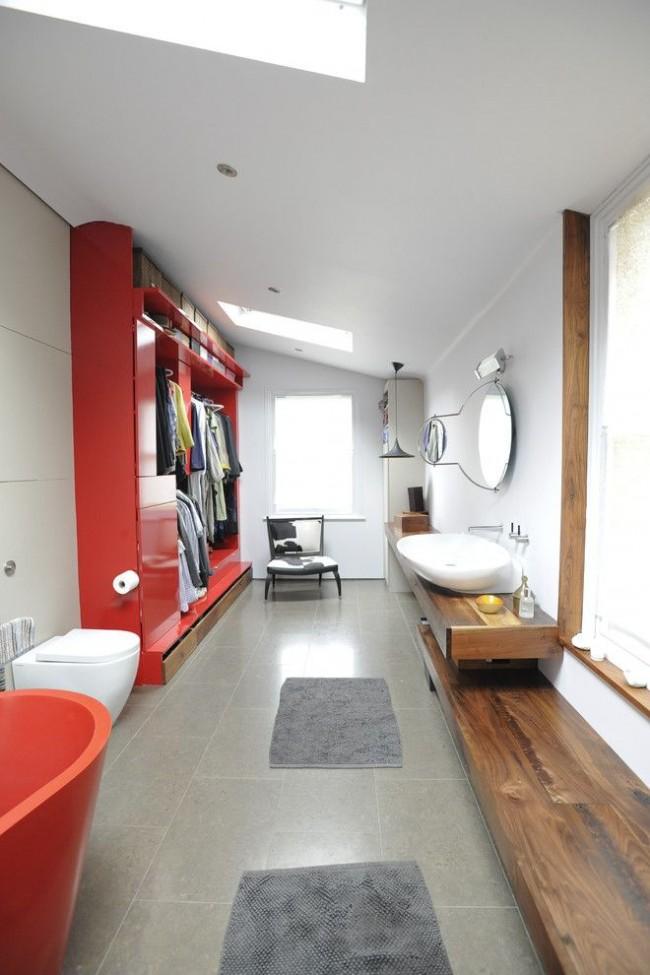 Гардеробная комната объединенная с ванной