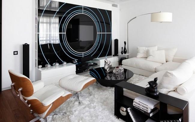 Красивое и удобное кресло в интерьере стиля хай-тек