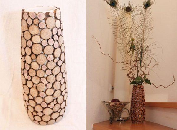 Обычная напольная ваза, оклеенная ровными срезами из веток разного размера