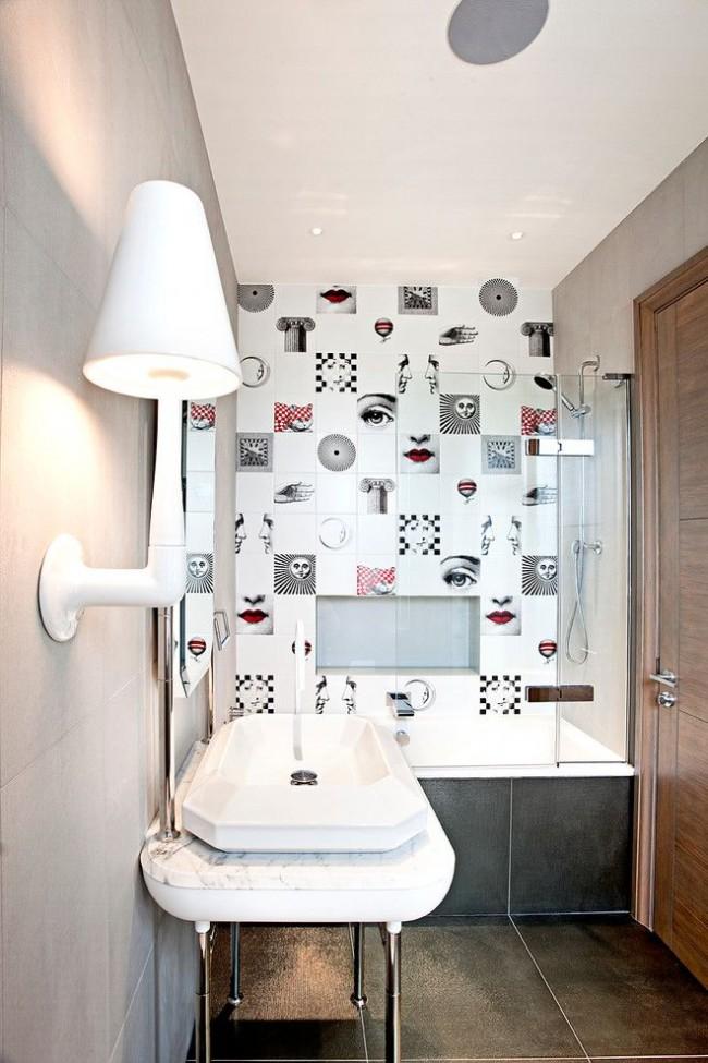 Плитка от дизайнера Пьеро Форназетти в небольшой ванной комнате