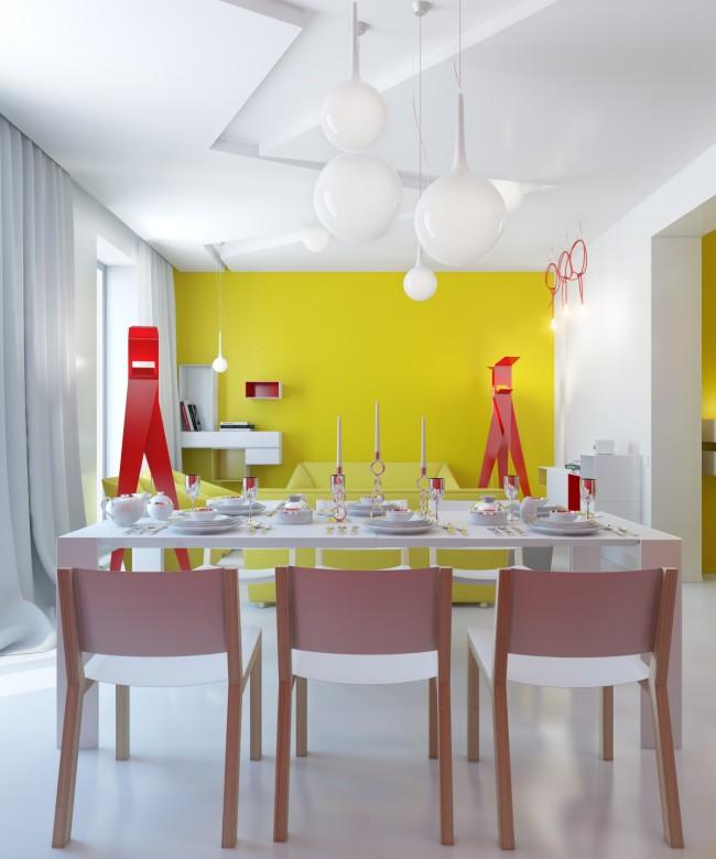 Стильная столовая с яркими элементами интерьера