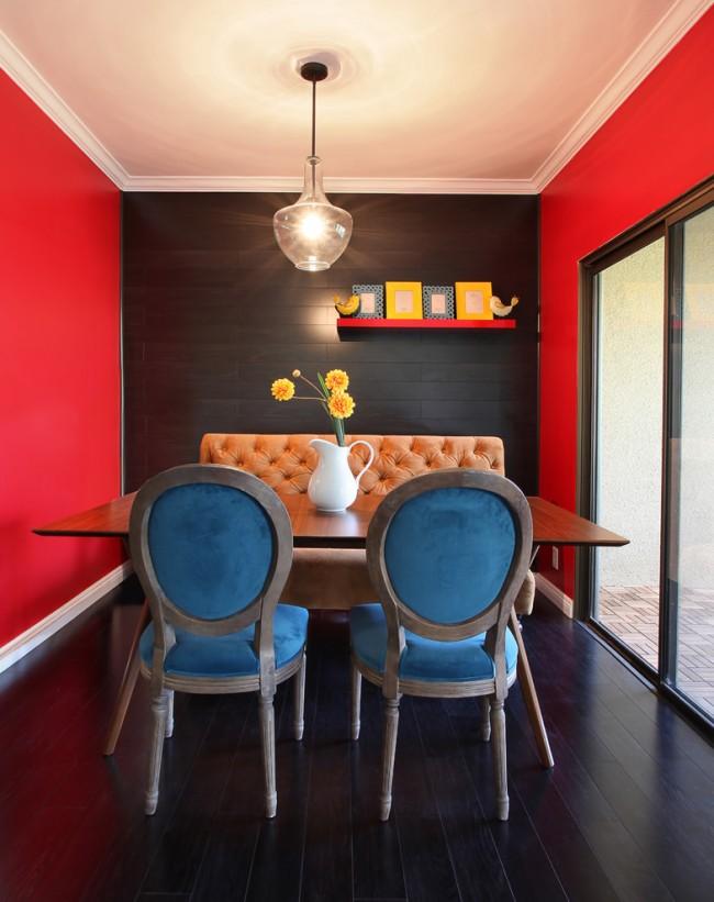 Классическое сочетание красного и черного в интерьере столовой