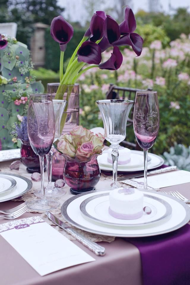 Тема оформления летней вечеринки в саду: фиолетовый цвет