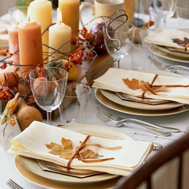 Осеннее оформление праздничного стола