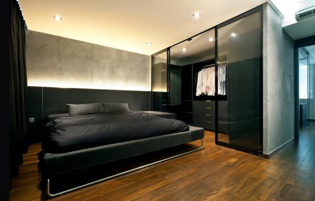 Минималистичная спальня с маленькой встроенной гардеробной