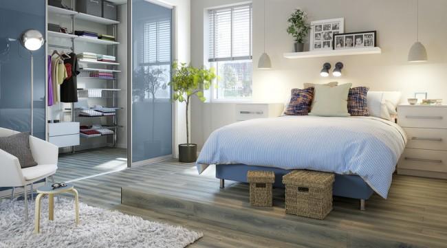 Успокаивающий голубой цвет в спальне