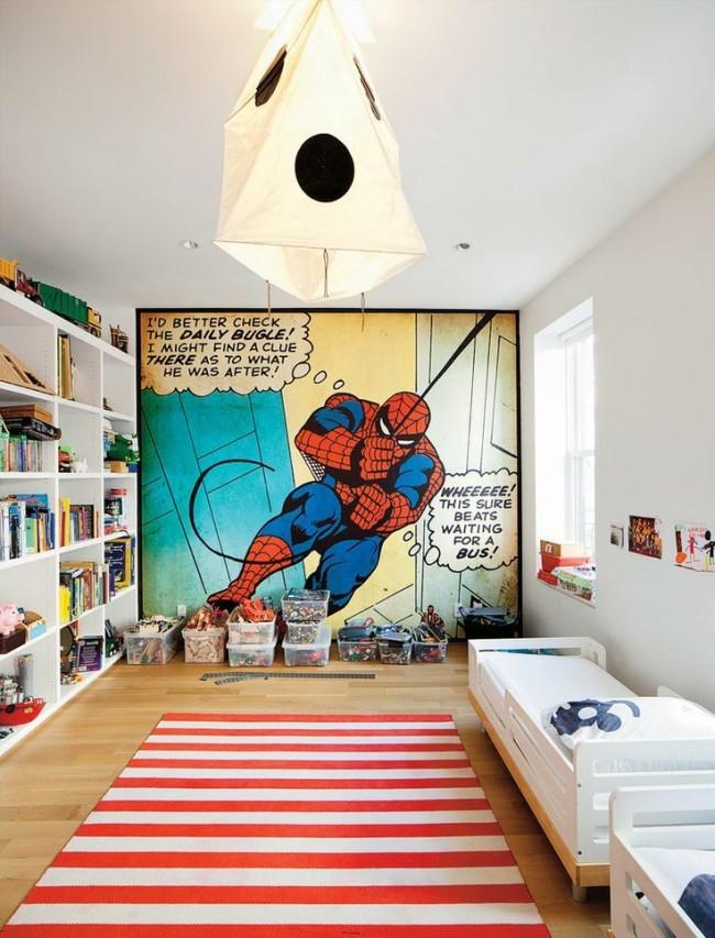 Фотообои с героем комиксов в белом скандинавском интерьере компактной комнаты школьника