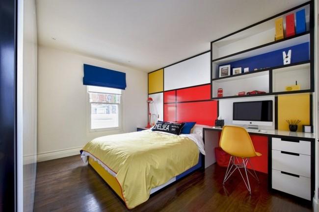Потрясающие цвета фасадов мебели - трибьют Мондриану в комнате для школьника