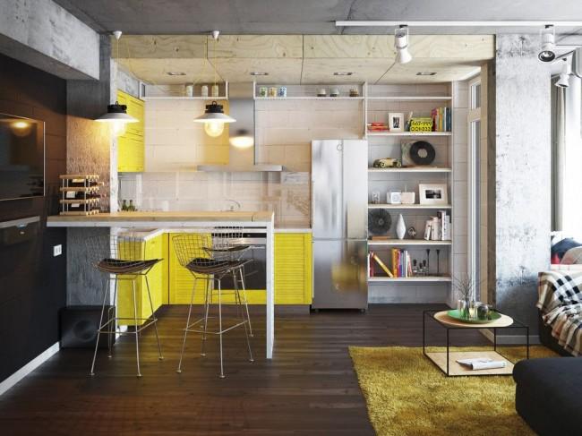 Дизайн-проект желто-серой урбанистичной кухни