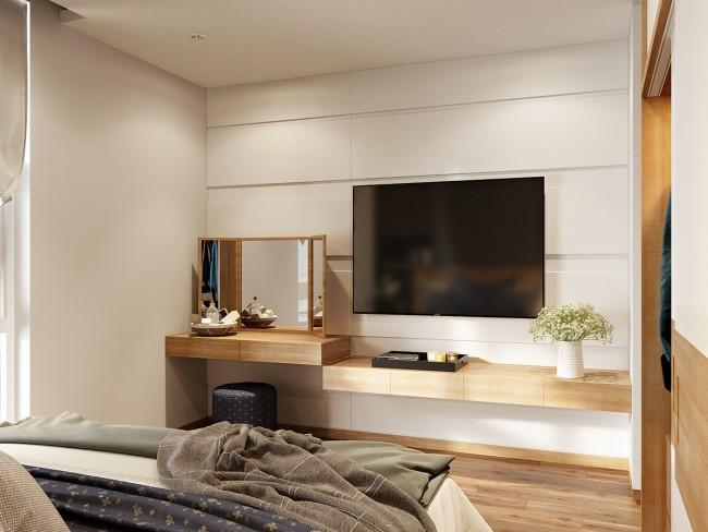 Современное нейтральное оформление спальни и интегрированный туалетный уголок с пуфом