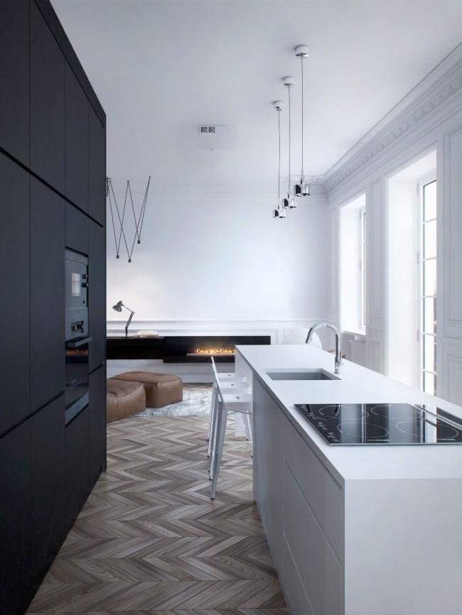 Дизайн-проект, идеи которого лучше всего заимствовать для больших квартир в исторических зданиях, но и во многих апартаментах новостроя элитного и миддл-ап класса их применение - наиболее органично и ожидаемо
