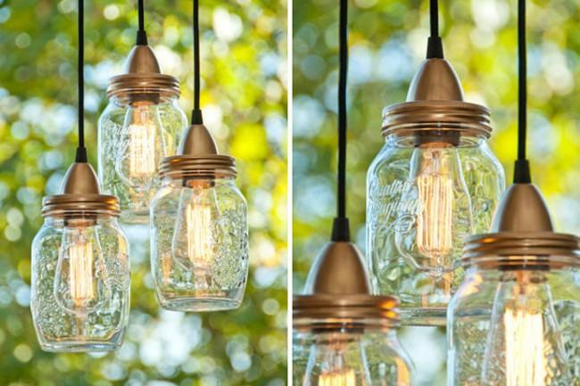 Из баночек можно сделать лампы для освещения территории дома