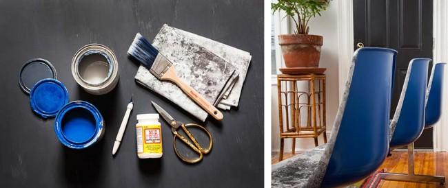Набор инструментов и материалов для украшения стульев