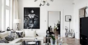 Дизайн черно-белой гостиной: 40 вдохновляющих идей элегантного монохрома фото