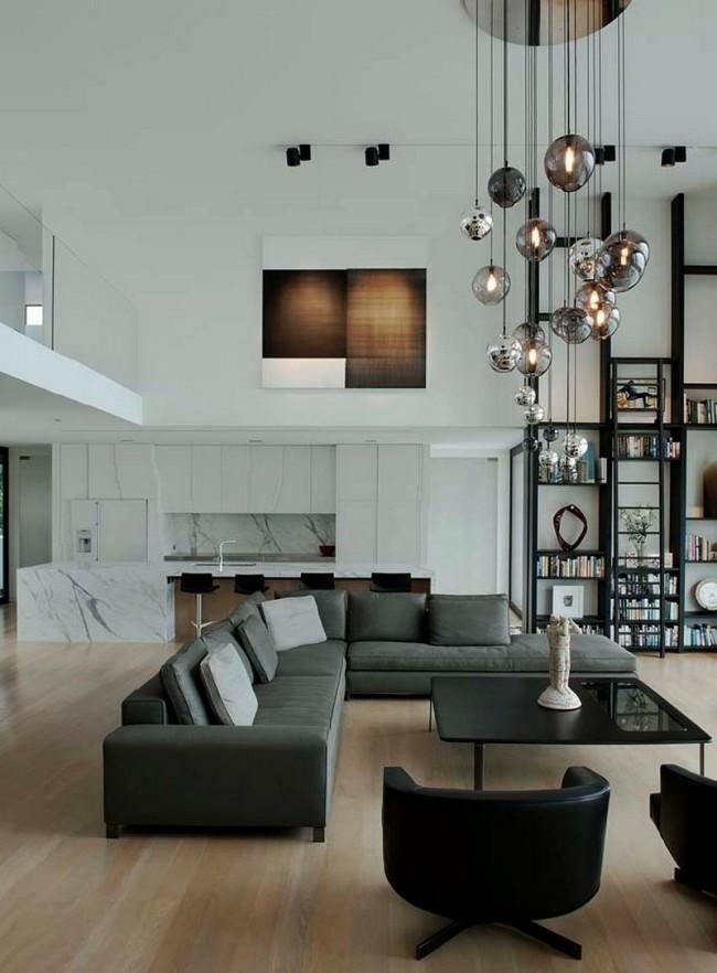 Стиль контемпорари в двусветной гостиной