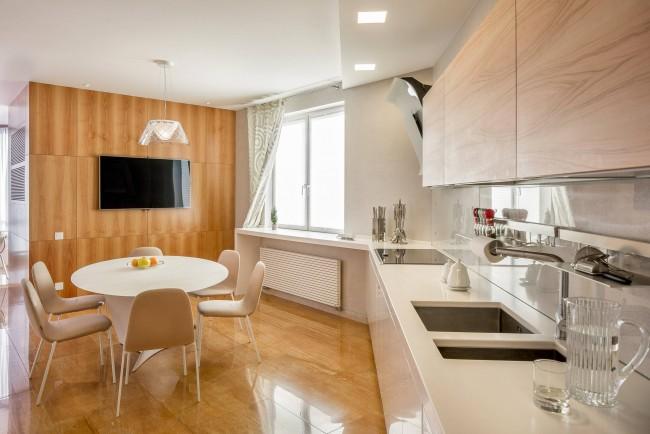 Еще один вариант модерна, отлично подходящий для кухонь среднего размера в типовом новострое