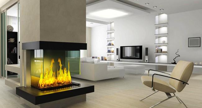 Творческое решение планировки и дизайна большой гостиной с трехсторонним камином в новострое