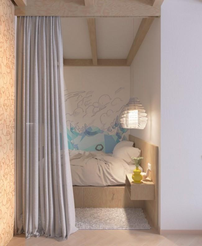 Визуализация варианта использования ниши в качестве спальни